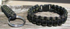 8 Inch Black & OD Paracord Bracelet & Key Chain