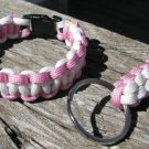 8 Inch Pink & White Paracord Bracelet & Key Chain