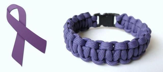 9 Inch Purple (Alzheimers Awareness) Paracord Bracelet