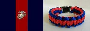 9 Inch US Marine Corps Blood Stripe (Scarlet & Blue) Paracord Bracelet