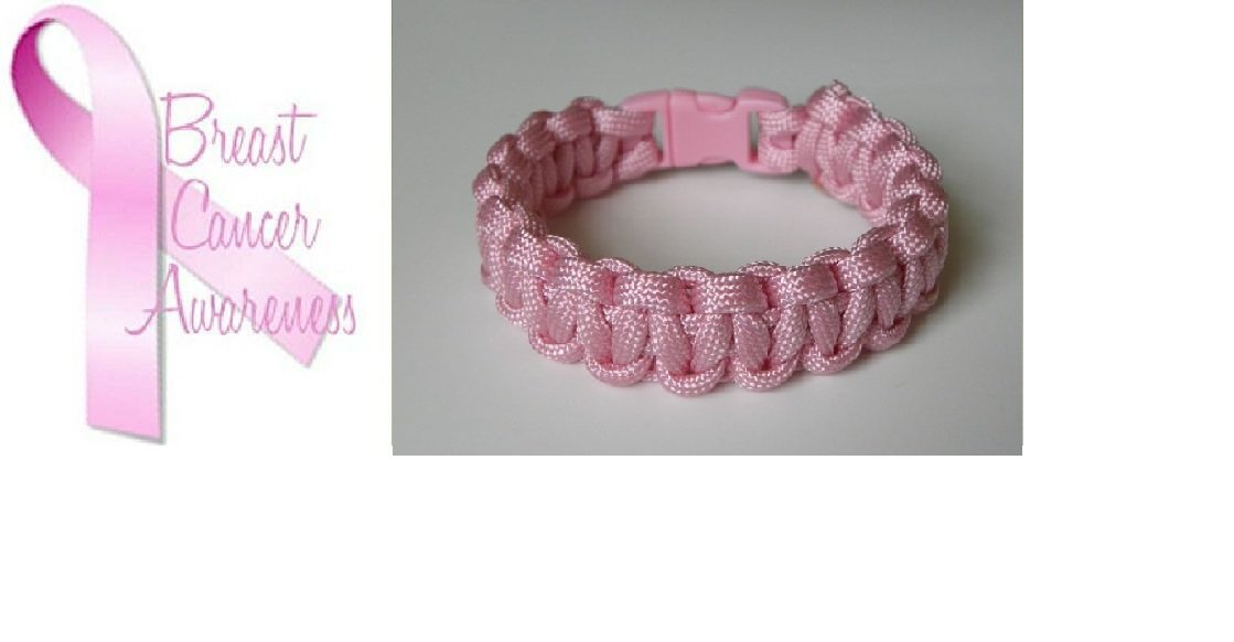8 Inch Pink (Breast Cancer Awareness) Paracord Bracelet