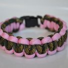 9 Inch Military Wife (Woodland Camo & Rose Pink) Paracord Bracelet