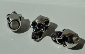 5 - Metal Alloy Skull Beads For Paracord Lanyards & Bracelets