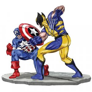 Captain America vs Wolverine 1:12 Scale Metal Statue