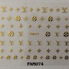 Designer 3D Nail Art Stickers Decal LV Style Gold Sticker FAM074