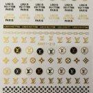 Designer Gold Black Premium Nail Art Stickers Decal LV Style Sticker Han213