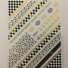 Designer 3D Gold Black Premium Nail Art Stickers Decal LV CK Style Sticker MP007