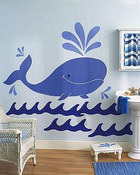NU IN BOX Wallies Whimsical Whale Big wall Mural 14300