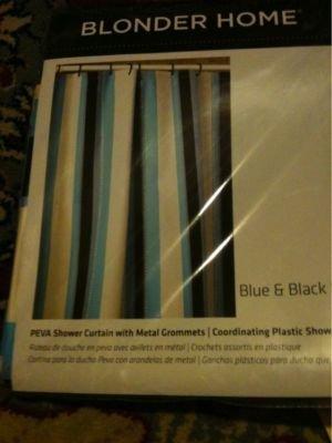 NEW BLONDER HOME PEVA SHOWER CURTAIN Blue and Black Stripe