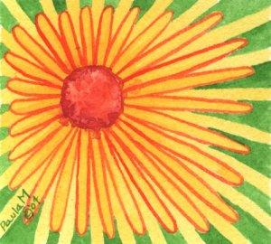 Set of two daisy watercolor original paintings Paula M
