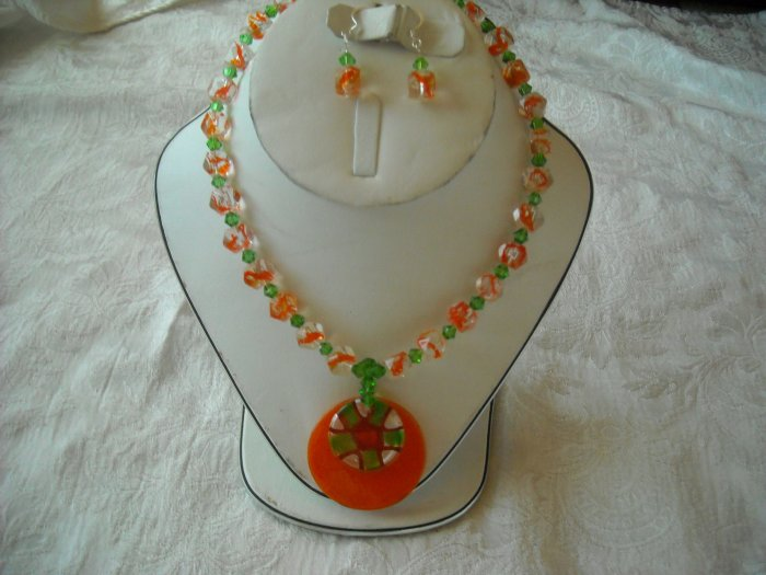 Orange and Green crystal necklace.
