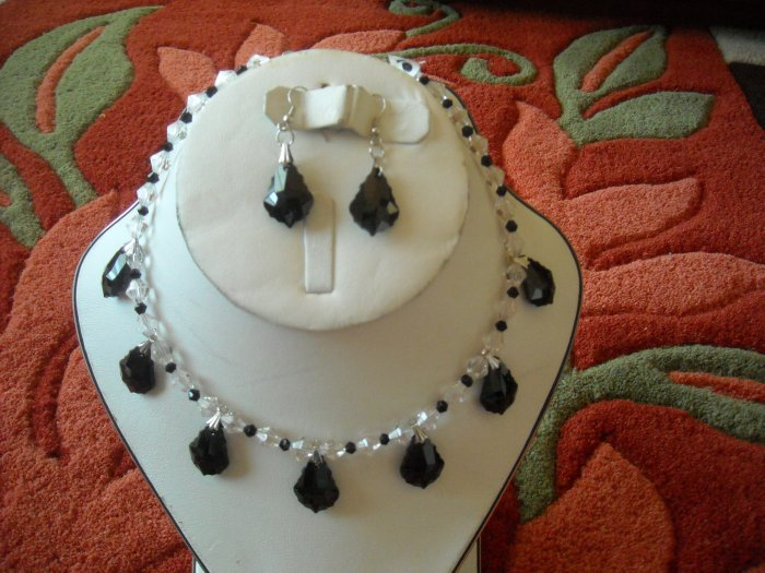 Black and clear Swarovski crystals necklace