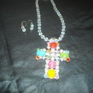 Multi colored Cross with earrings