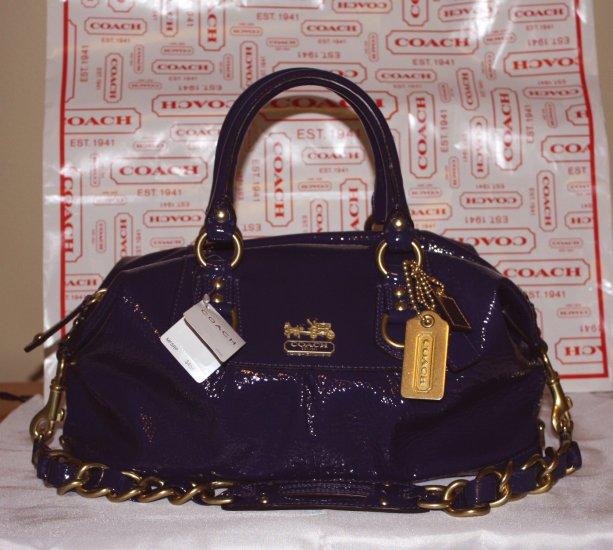 NWT Coach Sabrina Patent Leather Handbag 12957 Plum 100% Authentic