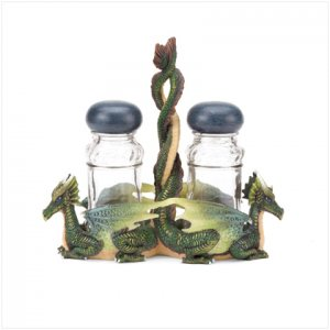 Green Dragons Salt and Pepper Shakers with Glass Holder
