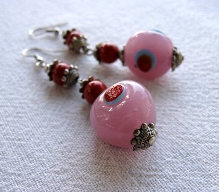 Red and Pink Dangly Earrings