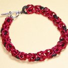 A-CH002-RBLK Red and Black Chainmail Bracelet