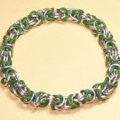 AR-CH002-GRNSIL Green and Silver Stretch Bracelet