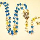 SR003-G Swarovski Capri Blue Rosary