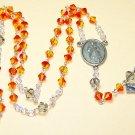 SR001-S Swarovski Fireopal and Black Diamond Rosary
