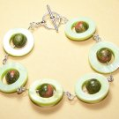 SH001-GREEN Peridot Shell and Unakite Bracelet