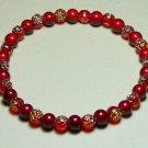 q  WR007-SB Red & Gold Rose and Red Wonder Bead Bracelet