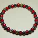 WR005-SB Black & Gold Rose and Red Wonder Bead Bracelet