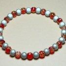 WR002-SB Red & Gold Rose and Silver Wonder Bead Bracelet