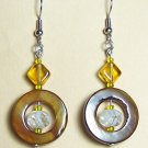SH004-G-CW Amber Shell with Striped Oval Bead Earrings