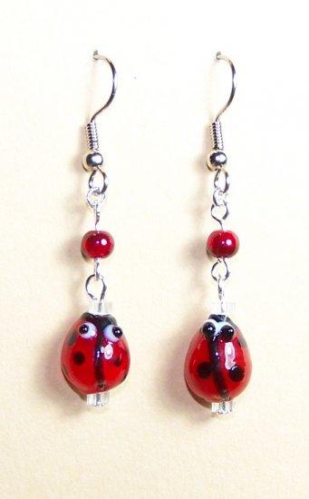 LPG008-BE Ladybug Earrings