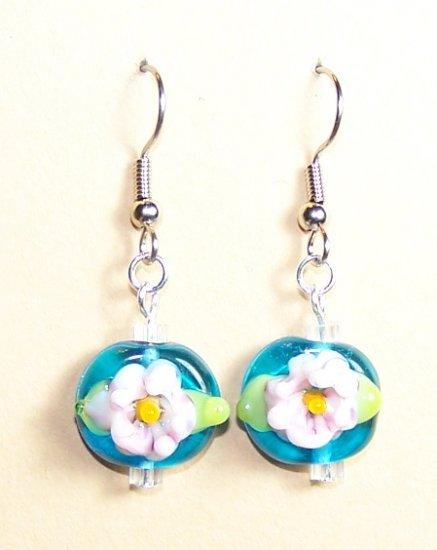 LPG057-BE Pink Lily Pad  Earrings