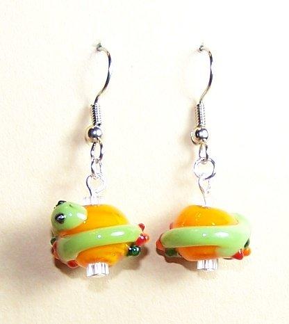 LPG062-BE Pond Snake Earrings