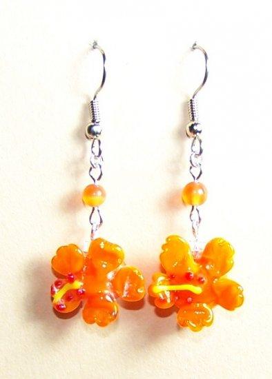 LPG071-BE Hibiscus Earrings