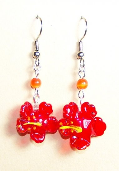 LPG072-BE Hibiscus Earrings