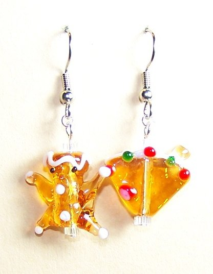 LPG025-XMAS Gingerbread Man and Pie Earrings