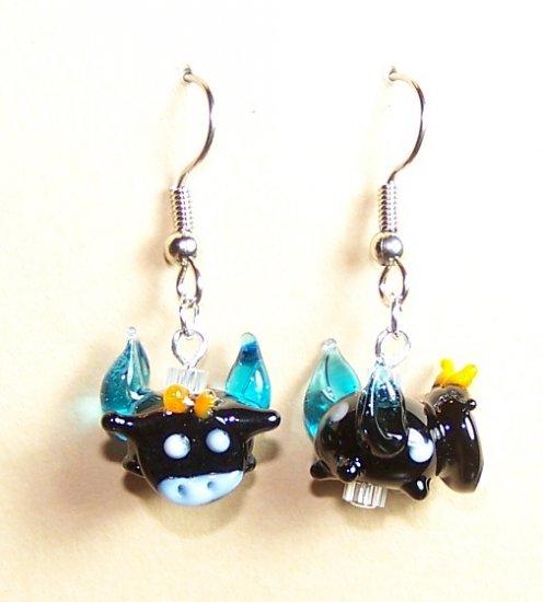 LPG046-XMAS Flying Cow Earrings