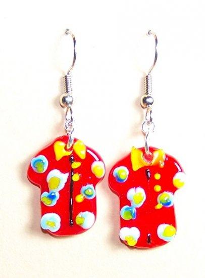 LPG073-BE Aloha Shirt Earrings