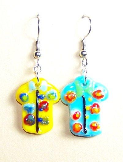 LPG077-BE Aloha Shirt Earrings