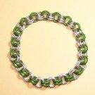 AR-CH003-GRNSIL-S Small Aluminum and Green Bracelet