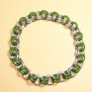 AR-CH003-GRNSIL-M Medium Aluminum and Green Bracelet