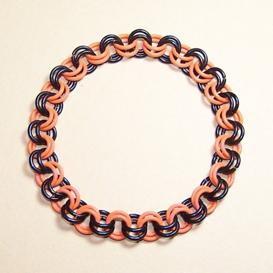 AR-CH003-OBLK-L Large Black and Orange Bracelet