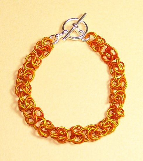 A-CH004-OR-L Large Orange Chainmail Bracelet