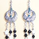 FD003-CE Black and White Earrings