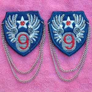 """71 #9 EMBLEMS, DECALS, Patches Chains 2 1/2"""" Blue NEW"""