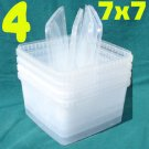 "4 PLASTIC CONTAINERS 5""x7""x7"" Clear + 4 Snap-On Lids From Sweden"