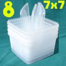 "8 PLASTIC CONTAINERS 5""x7""x7"" Clear + 4 Snap-On Lids From Sweden"