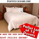 Pallet of 12 x 90% Down Feather Queen Duvet + 2 Feather Pillows