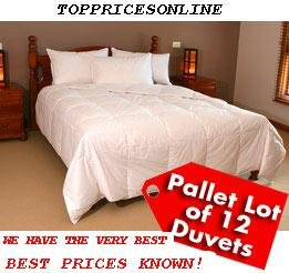 Pallet of 12 x 90% Down Feather Queen Duvet + 2 Feather Pillows