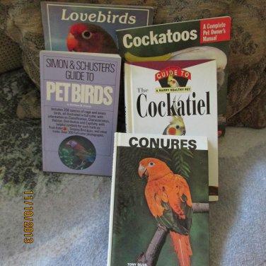Set of 5 pet bird care books