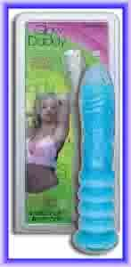 """Glow Daddy Ribbed 8"""" Liquid Filled Glass Dildo"""